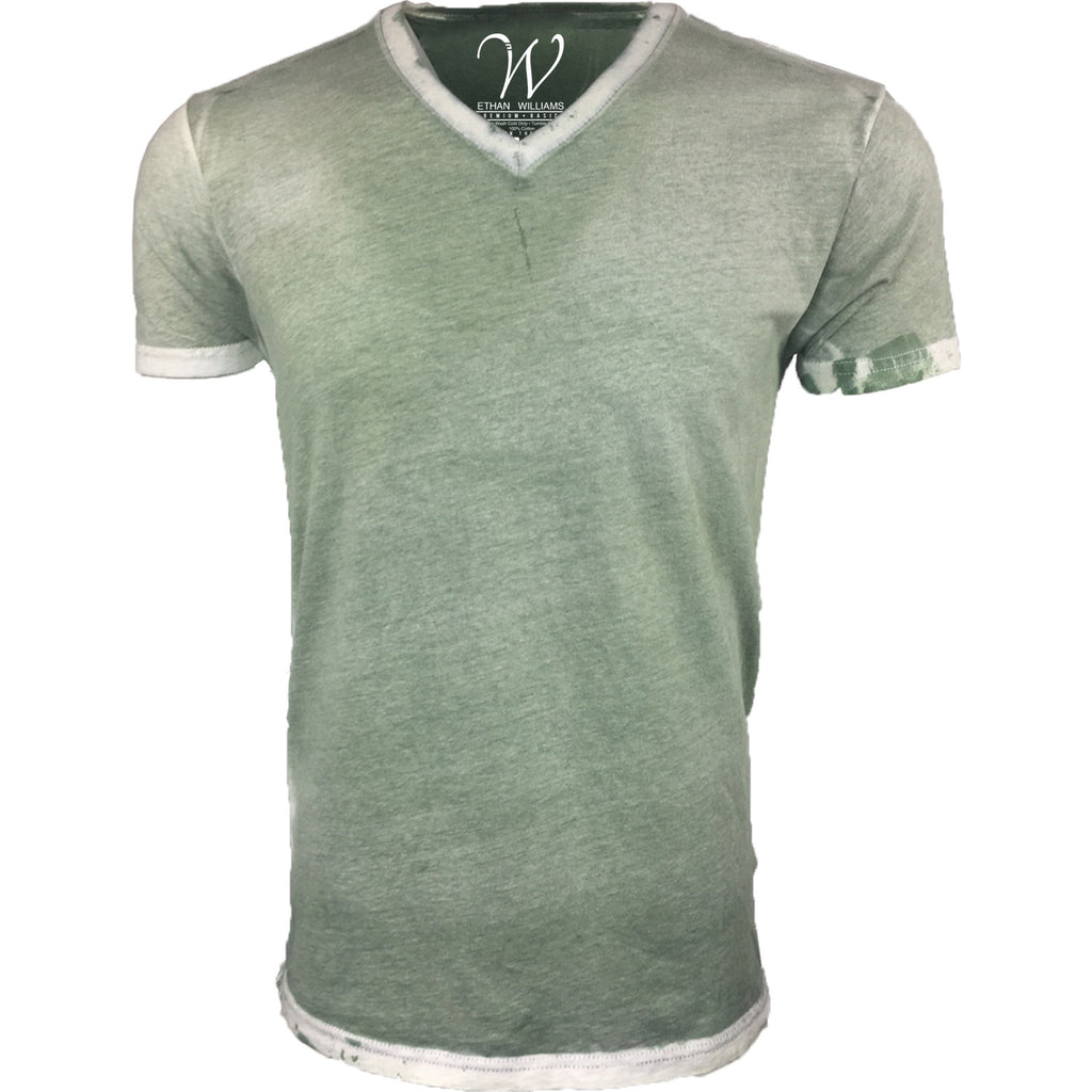 EWC 175SMG Stress Military Green Hand Dyed Ultra Soft Sueded V-Neck T-shirt