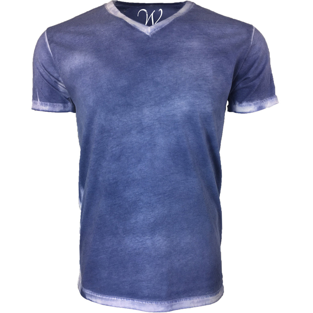 EWC 175SN Stress Navy Hand Dyed Ultra Soft Sueded V-Neck T-shirt