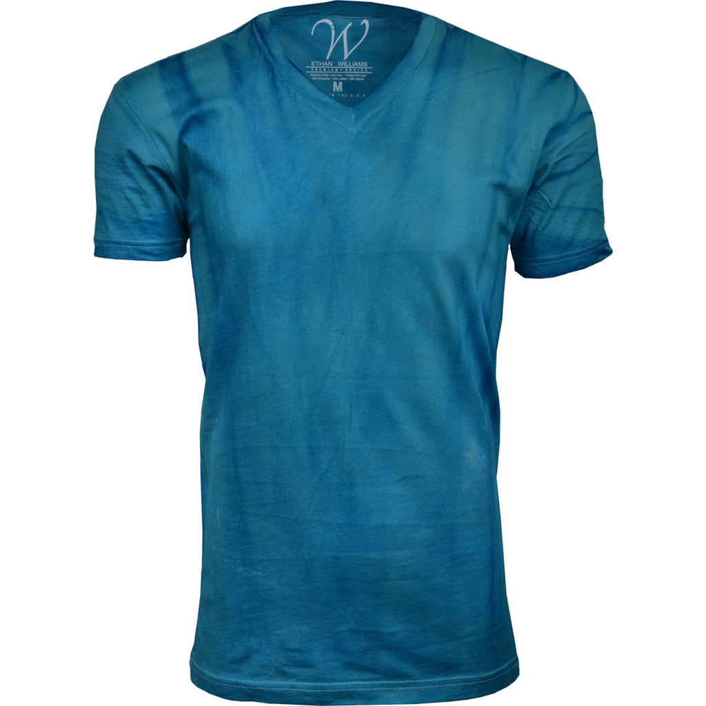 EWC 175T Turquoise Hand Dyed Ultra Soft Sueded V-Neck T-shirt