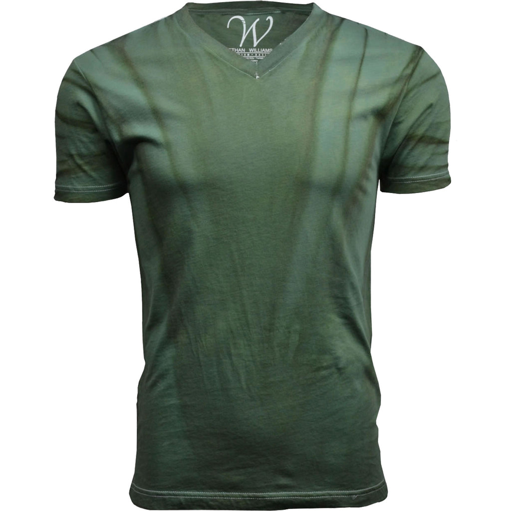 EWC 175VFG Vintage Forest Green Hand Dyed Ultra Soft Sueded V-Neck T-shirt