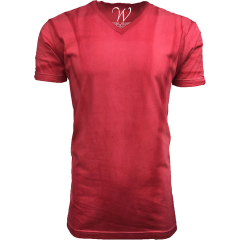 EWC 175VR Vintage Red Hand Dyed Ultra Soft Sueded V-Neck T-shirt