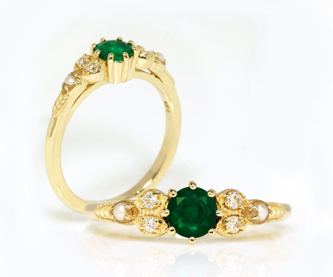 emerald pearl and diamond yellow gold engagement ring
