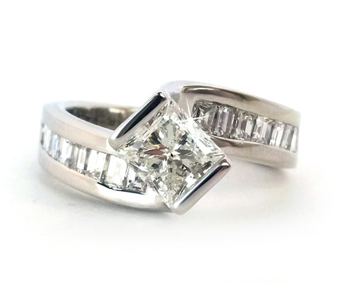 Twist Princess Engagement Ring