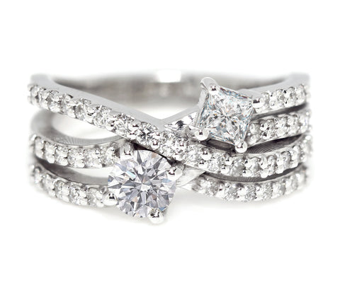 Multi-row diamond ring