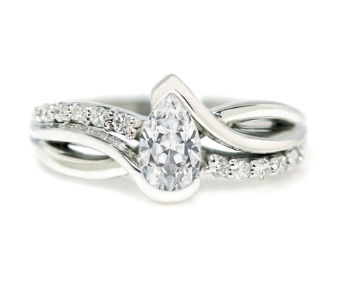 Pear Diamond Twist Engagement Ring