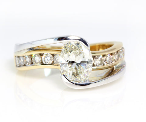 Two tone bypass twist engagement ring