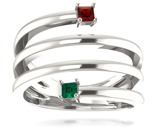 Spiral Wrap Mothers Birthstone Family Silver Ring