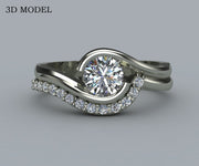 Curved Bypass Diamond Wedding Ring