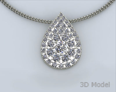 Pave Diamond Teardrop Redesigned Necklace