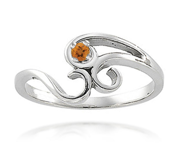 Simple Swirl Mothers Birthstone Family Silver Ring