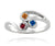 Ambrosia simple curved mothers birthstone family silver ring