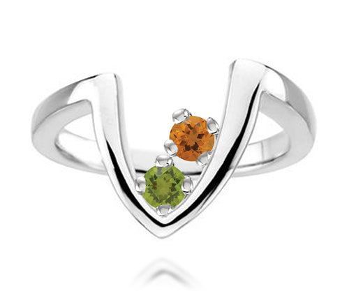 V-Shaped Modern Mothers Birthstone Family Silver Ring