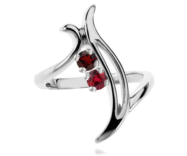 Contemporary Journey Mothers Birthstone Family Silver Ring