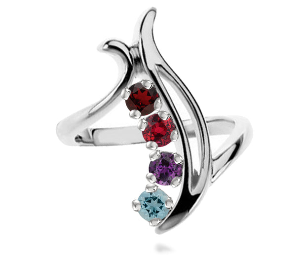 Ambrosia contemporary curved journey birthstone mothers family silver ring