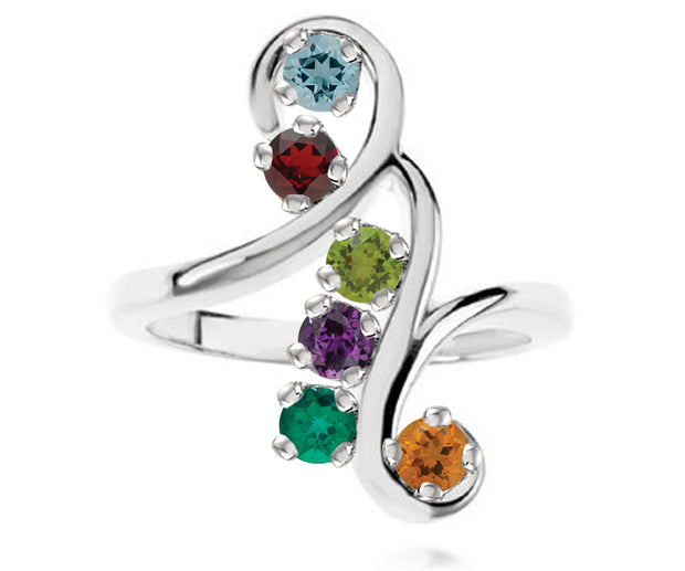 Curls and Swirls Mothers Birthstone Family Silver Ring