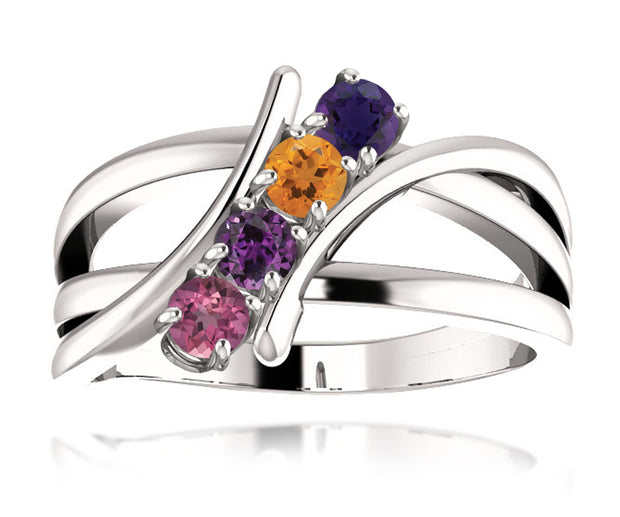 Interweave Modern Mothers Birthstone Family Silver Ring