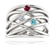 Wide MultiRow Contemporary Mothers Birthstone Family Silver Ring