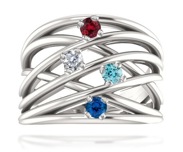 Ambrosia modern wide multi row mothers birthstone family sterling silver ring
