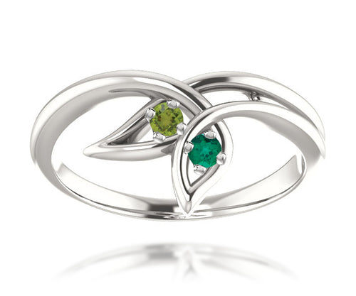 Simple Leaf Mothers Birthstone Family Silver Ring