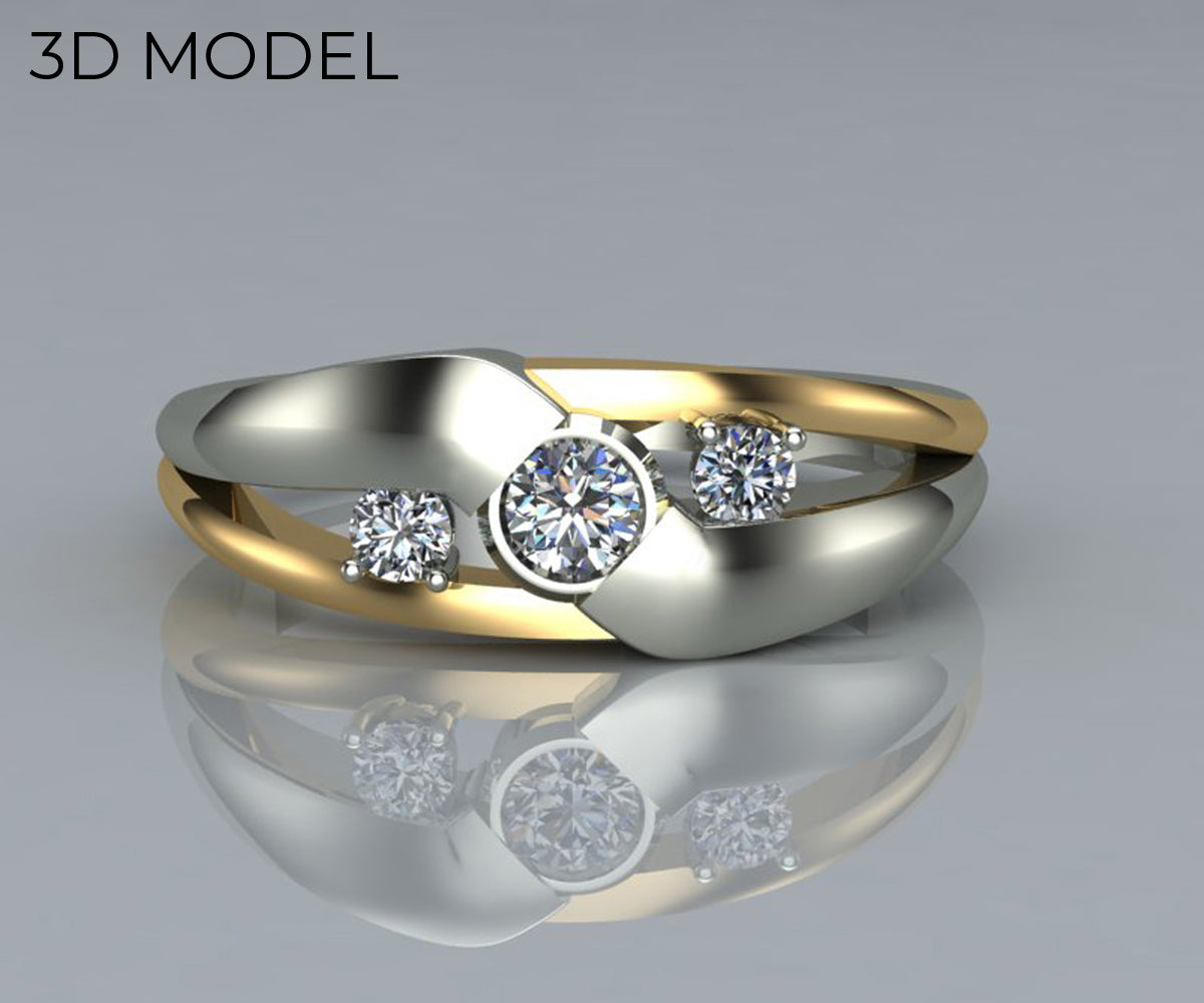 Modern Bypass Two-Tone Diamond Wedding Ring