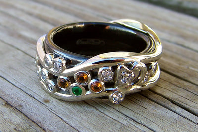 custom titanium swirl birthstone family wedding ring redesign