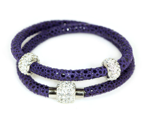Ambrosia double wrap Swarovski crystal royal blue purple leather bracelet