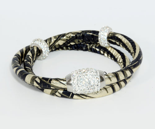 Double Wrap Swarovski Crystals Gold Leather Bracelet