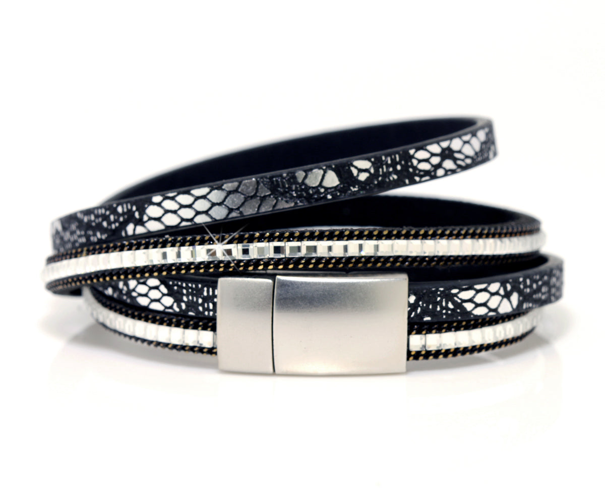 Double Wrap Platinum Druzy Leather Bracelet
