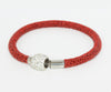Sparkling Red Leather Single Bracelet