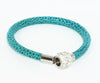 Sparkling Teal Leather Single Bracelet