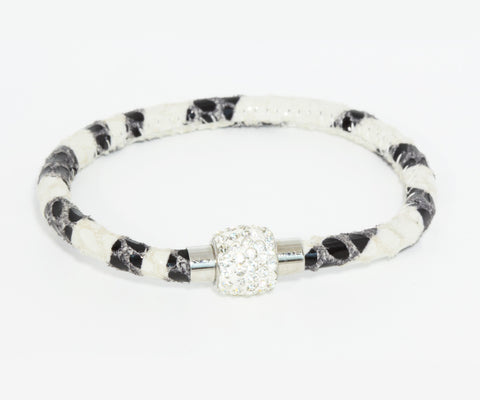 Sparkling Zebra Leather Single Bracelet
