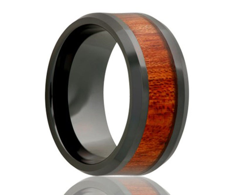 Black Ceramic Blood Wood Inlay Ring
