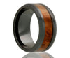 Black Ceramic Burl Wood Inlay Ring