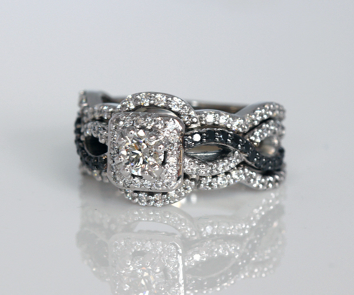 Black and White Diamond Halo Wedding Ring Set