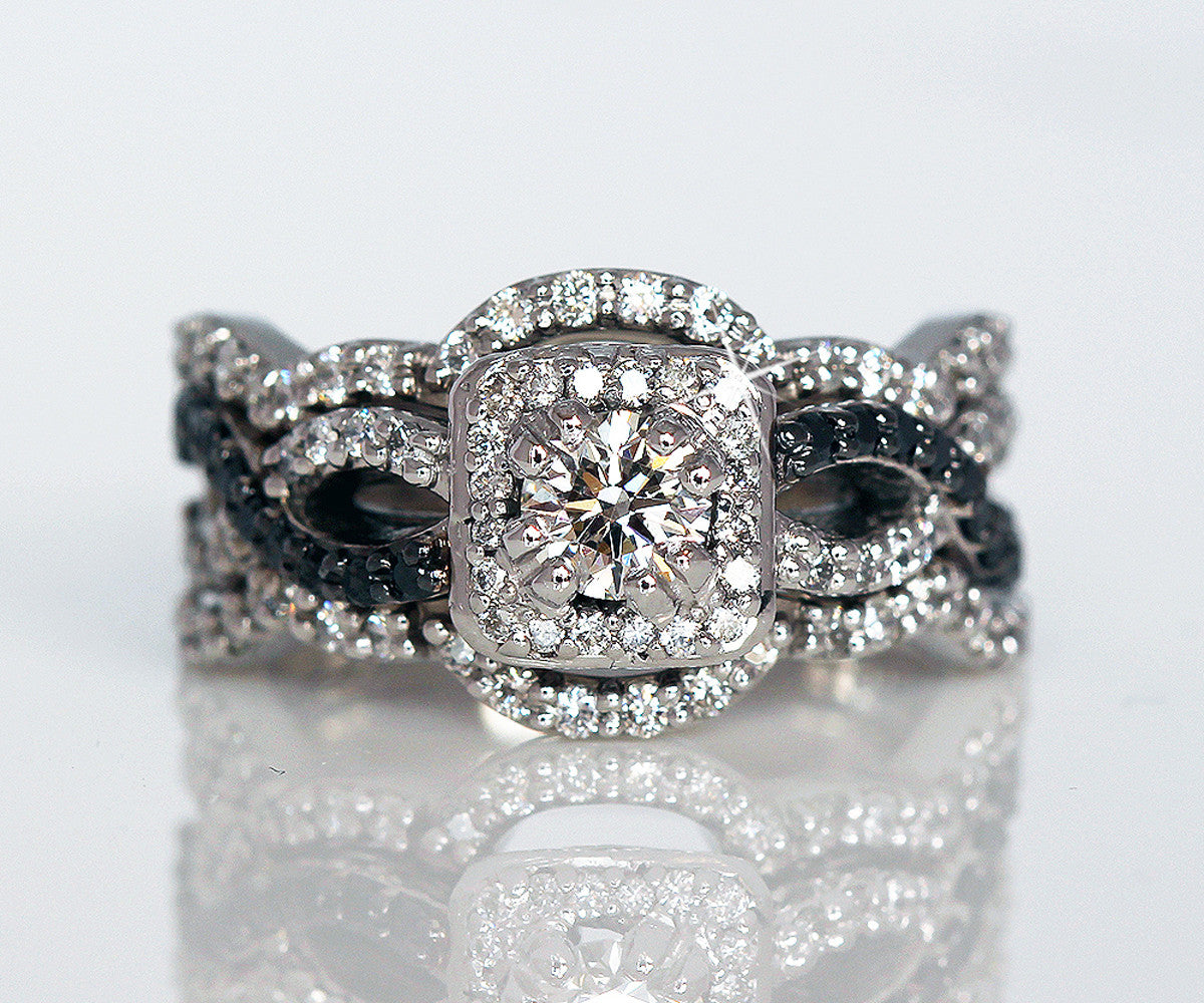 black and white diamond halo twist wedding ring