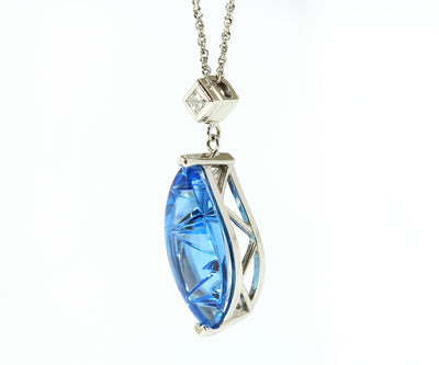 Custom Curved Blue Topaz and Diamond Necklace