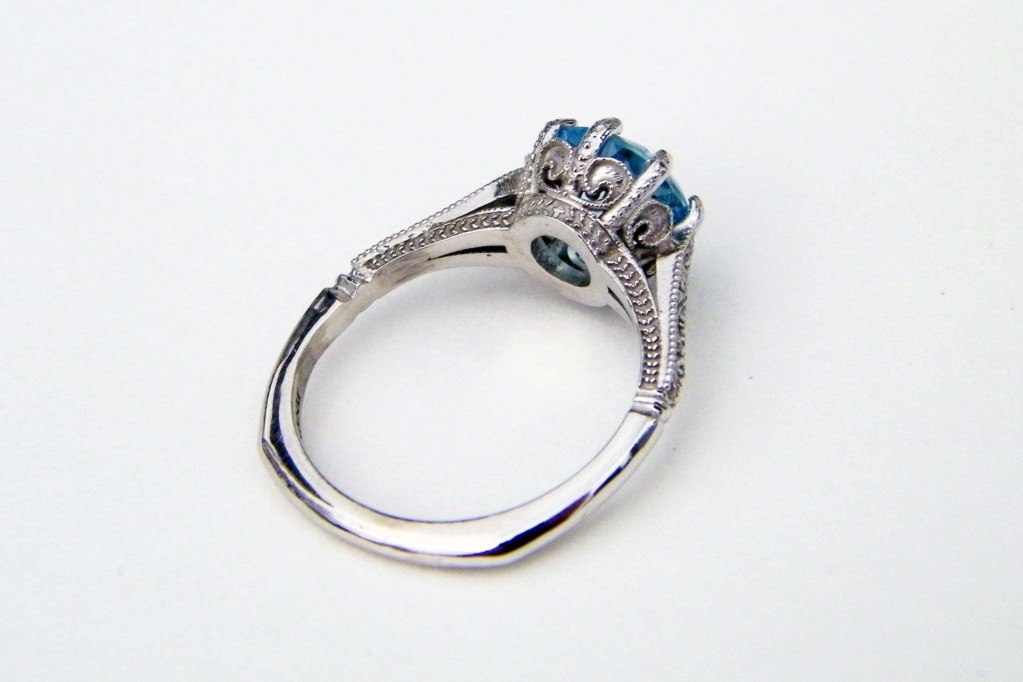 vintage solitaire blue topaz engagement ring ambrosia jewelry design