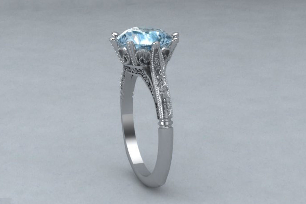 Vintage Blue Topaz Wedding Ring
