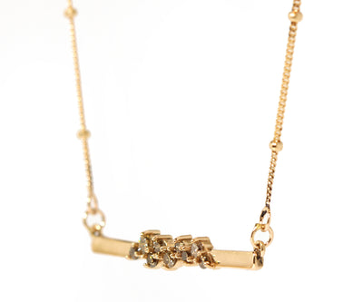 Cluster Brown Diamond Bar Rose Gold Necklace