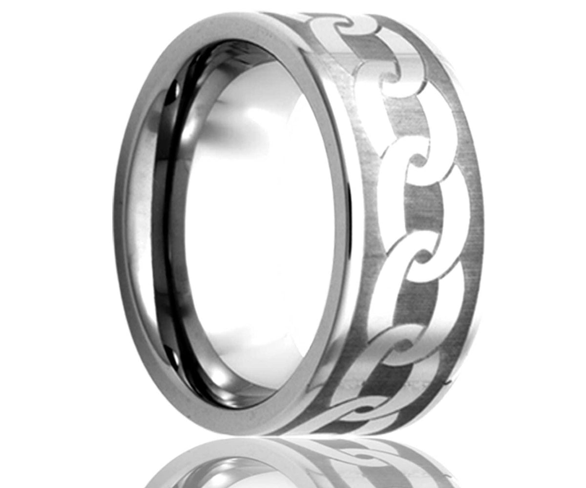 Cobalt Laser Engraved Chain Ring