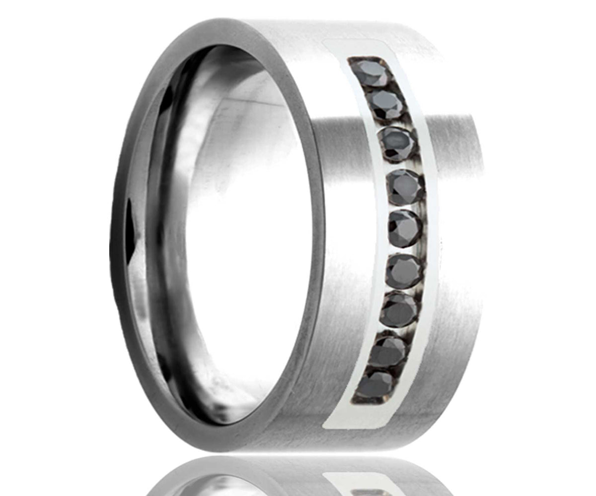 Cobalt Black Diamond & Palladium Inlay Flat Edge Ring
