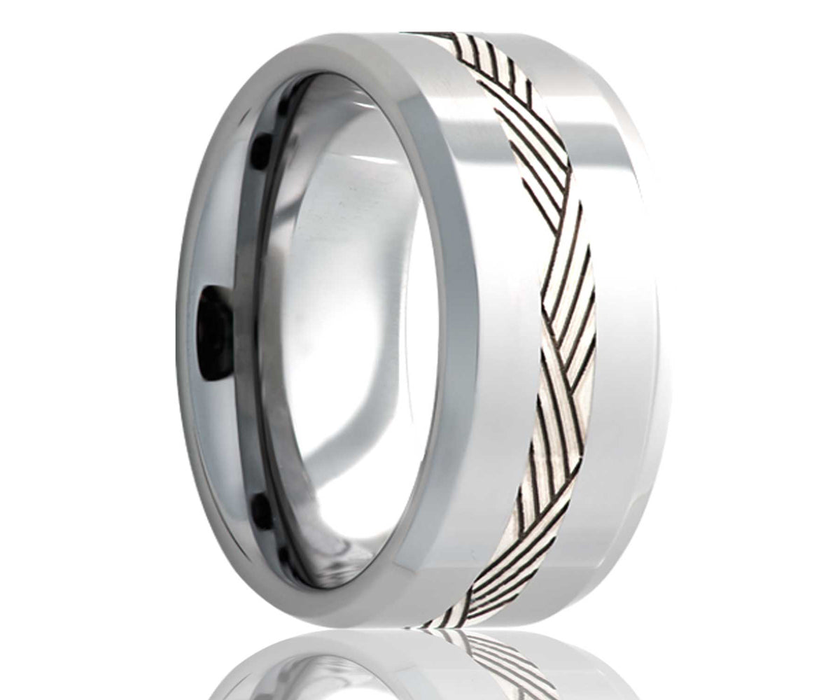 Cobalt Silver Engraved Geometric Inlay Ring