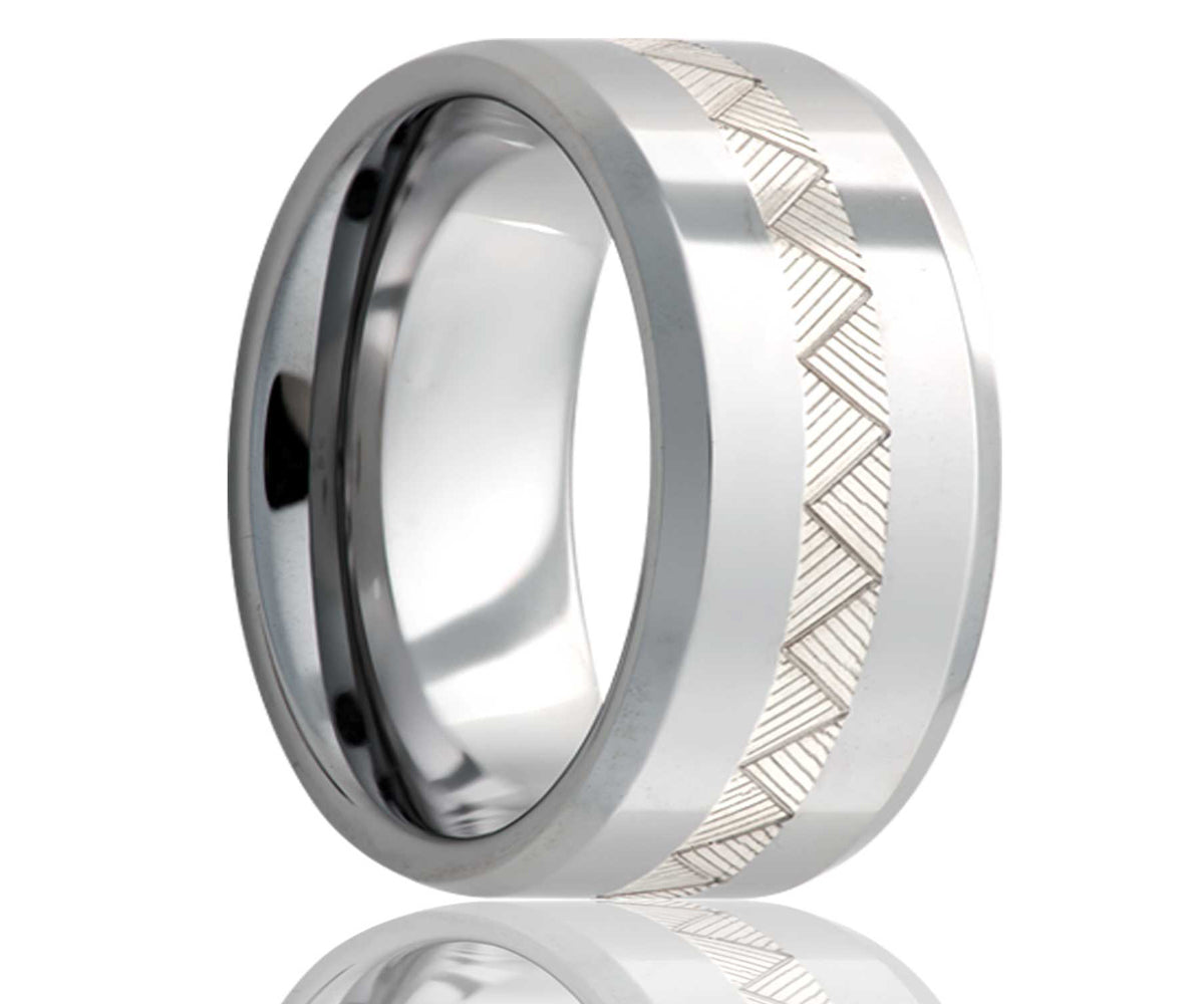 Cobalt Silver Engraved Weaved Inlay Ring