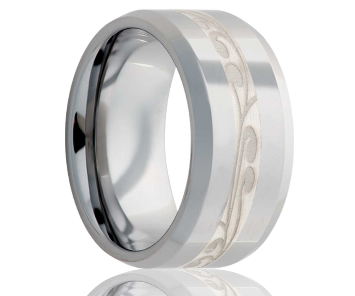 Cobalt Silver Engraved Swirl Inlay Ring