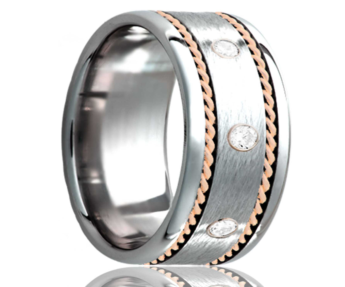 Cobalt Diamond Satin Finish with Woven Rose Gold Ring