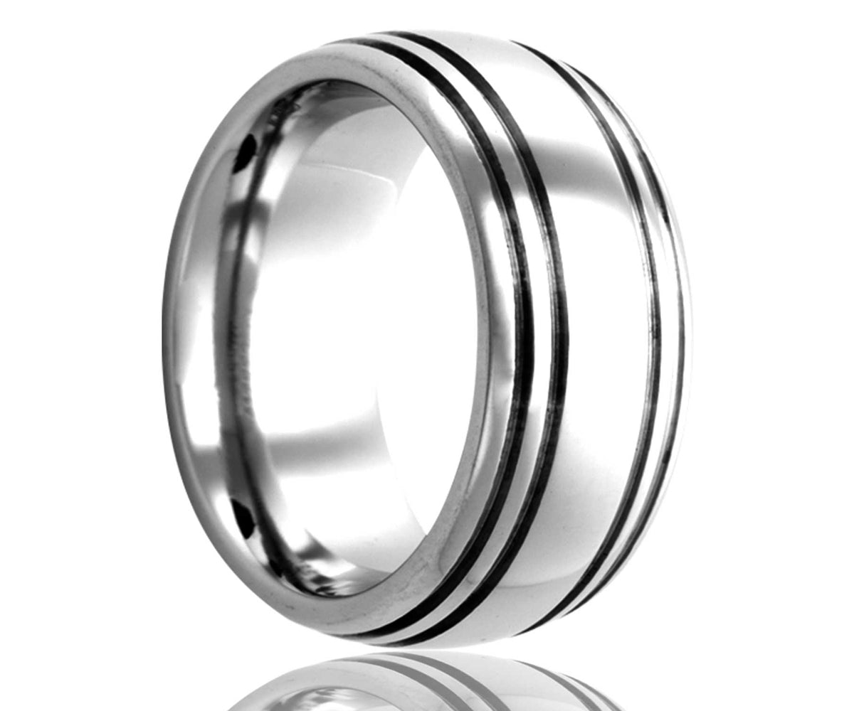Cobalt Dome Quadruple Groove Ring