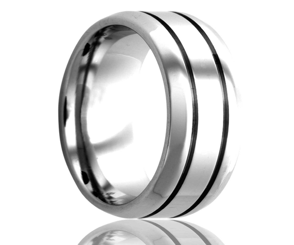 Cobalt Beveled Edge Double Groove Ring