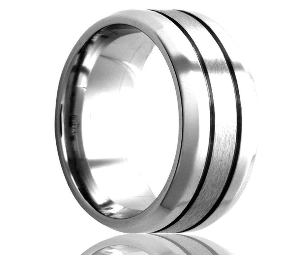 Cobalt Beveled Edge Double Groove Satin Ring