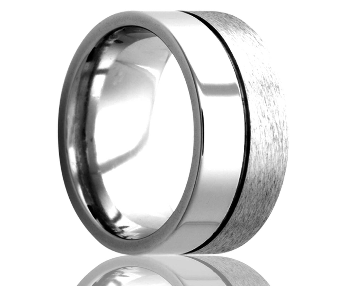 Cobalt Flat Center Groove Ring