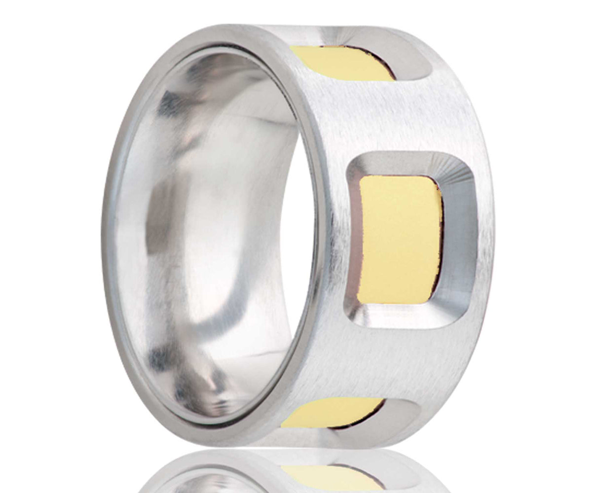 Cobalt Flat Yellow Gold Cutout Ring